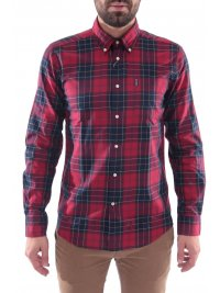 BARBOUR BARBOUR ΠΟΥΚΑΜΙΣΟ WETHERAM BUTTON DOWN TAILORED FIT ΚΑΡΩ ΚΟΚΚΙΝΟ