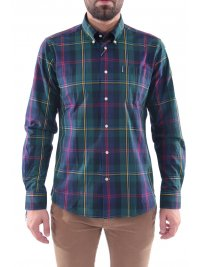 BARBOUR BARBOUR ΠΟΥΚΑΜΙΣΟ HIGHLAND BUTTON DOWN TAILORED FIT ΚΑΡΩ ΠΡΑΣΙΝΟ