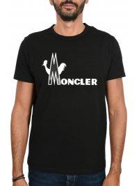 MONCLER MONCLER T-SHIRT LOGO ΜΑΥΡΟ