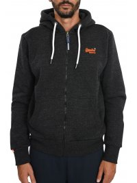 SUPERDRY SUPERDRY ΦΟΥΤΕΡ ΖΑΚΕΤΑ ZIPHOOD ORANGE LABEL ΜΑΥΡΟ