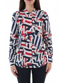 TOMMY HILFIGER TOMMY HILFIGER ΠΟΥΚΑΜΙΣΑ ANGIE ΤΣΕΠΗ ΜΠΡΟΣΤΑ ABSTRACT STRIPE ΛΕΥΚΟ
