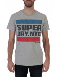 SUPERDRY SUPERDRY T-SHIRT ΣΤΑΜΠΑ NYC TAB ΓΚΡΙ