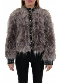 RELISH RELISH ΜΠΟΥΦΑΝ ECO LEATHER/FUR PELLICCIA MALIBUSA ΜΠΕΖ ΓΚΡΙ