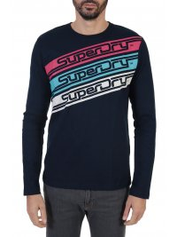 SUPERDRY SUPERDRY T-SHIRT ΣΤΑΜΠΑ DOWNHILL RACER ΜΠΛΕ
