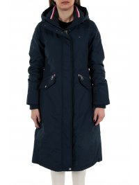 TOMMY HILFIGER TOMMY HILFIGER ΜΠΟΥΦΑΝ TH ESSENTIAL LONG PADDED PARKA WATER REPELLENT ΚΟΥΚΟΥΛΑ ΜΠΛΕ