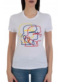 KARL LAGERFELD KARL LAGERFELD T-SHIRT MULTICOLOR 3D PROFILE TEE ΛΕΥΚΟ