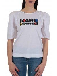KARL LAGERFELD KARL LAGERFELD T-SHIRT PUFFY SLEEVES BAUHAUS LOGO ΛΕΥΚΟ