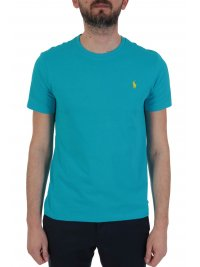 RALPH LAUREN RALPH LAUREN T-SHIRT  LOGO CUSTOM SLIM FIT ΤΥΡΚΟΥΑΖ