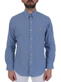 RALPH LAUREN RALPH LAUREN ΠΟΥΚΑΜΙΣΟ  ΚΑΡΩ BUTTON DOWN CUSTOM FIT COTTON STRETCH ΜΠΛΕ