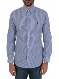 RALPH LAUREN RALPH LAUREN ΠΟΥΚΑΜΙΣΟ BUTTON DOWN ΡΙΓΕ CUSTOM FIT COTTON STRETCH ΜΠΛΕ