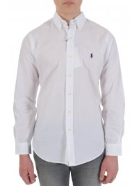 RALPH LAUREN RALPH LAUREN ΠΟΥΚΑΜΙΣΟ BUTTON DOWN CUSTOM FIT COTTON STRETCH ΛΕΥΚΟ
