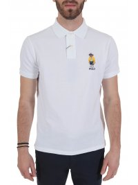 RALPH LAUREN RALPH LAUREN POLO LOGO BEAR CUSTOM SLIM FIT ΛΕΥΚΟ