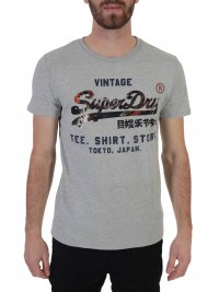 SUPERDRY SUPERDRY T-SHIRT INFILL STORE ΣΤΑΜΠΑ ΓΚΡΙ