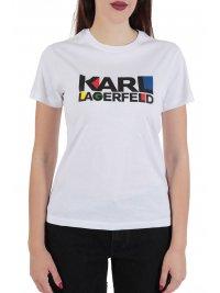 KARL LAGERFELD KARL LAGERFELD T-SHIRΤ BAUHAUS STACKED LOGO ΛΕΥΚΟ