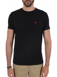 TIMBERLAND TIMBERLAND T-SHIRT SLIM FIT POCKET LOGO ΜΑΥΡΟ