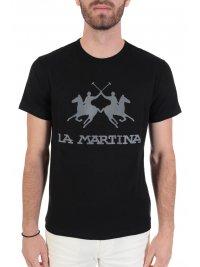 LA MARTINA LA MARTINA T-SHIRT REGULAR FIT LOGO ΜΑΥΡΟ