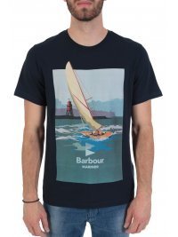 BARBOUR BARBOUR  INTERNATIONAL T-SHIRT TAILORED FIT OUTBOARD ΜΠΛΕ