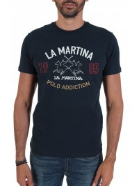 LA MARTINA LA MARTINA T-SHIRT REGULAR FIT LOGO ΜΠΛΕ