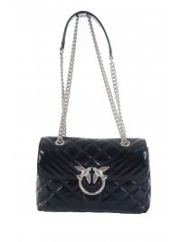 PINKO PINKO ΤΣΑΝΤΑ  LOVE CLASSIC PUFF MIXY CL DARK INDIGO BLUE ΑΛΥΣΙΔΑ BIRDS ΜΠΛΕ