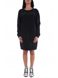 KARL LAGERFELD KARL LAGERFELD ΦΟΡΕΜΑ BACK V-NECK LOGO SWEAT DRESS ΜΑΥΡΟ