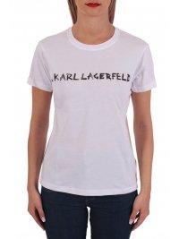 KARL LAGERFELD KARL LAGERFELD T-SHIRT GRAFFITI LOGO ΛΕΥΚΟ