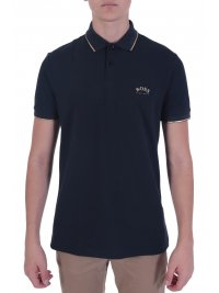 BOSS ATHLEISURE BOSS ATHLEISURE POLO SLIM FIT PAUL CURVED BLACK GOLD CAPSULE ΜΠΛΕ