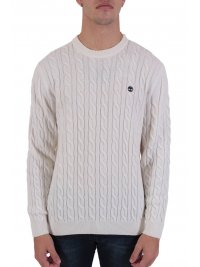 TIMBERLAND TIMBERLAND ΠΛΕΚΤΟ CREW NECK CABLE LAMBSWOOL  LOGO BLEND ΥΠΟΛΕΥΚΟ