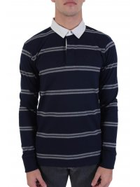 GANT GANT POLO ΡΙΓΕ DOUBLE STRIPE HEAVY RUGGER ΜΠΛΕ