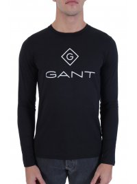 GANT GANT T-SHIRT LOCK UP ΜΑΥΡΟ