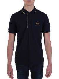 BOSS  BOSS ATHLEISURE POLO PAULE 4  BLUE GOLD CAPSULE SLIM FIT PIMA COTTON ΜΠΛΕ
