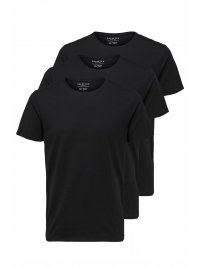 SELECTED SELECTED STANDARDS T-SHIRT 3-PACK ORGANIC COTTON FLEXIBLE FIT ΜΑΥΡΟ