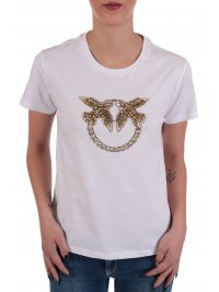 PINKO PINKO T-SHIRT QUENTIN 1 JERSEY DI COTONE BIRDS STRASS ΛΕΥΚΟ