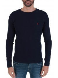 RALPH LAUREN RALPH LAUREN SLEEP TOP T-SHIRT ΜΕ ΛΟΓΟΤΥΠΟ WAFFLE ΜΠΛΕ
