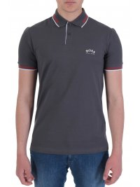 BOSS  BOSS ATHLEISURE POLO SLIM FIT PAUL CURVED ΓΚΡΙ