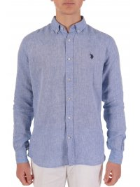 U.S. POLO ASSN US POLO ASSN ΠΟΥΚΑΜΙΣΟ ZAM ΛΙΝΟ REGULAR FIT BUTTON DOWN ΣΙΕΛ