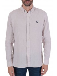 U.S. POLO ASSN US POLO ASSN ΠΟΥΚΑΜΙΣΟ ZAM ΛΙΝΟ REGULAR FIT BUTTON DOWN ΕΚΡΟΥ
