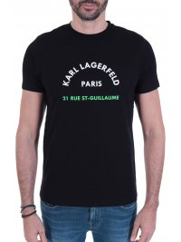 KARL LAGERFELD KARL LAGERFELD T-SHIRT  LOGO 21RUE ST-GUILLAUME  ΜΑΥΡΟ