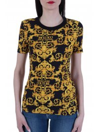 VERSACE JEANS COUTURE VERSACE T-SHIRT STRETCH LOGO BAROQUE ΜΑΥΡΟ