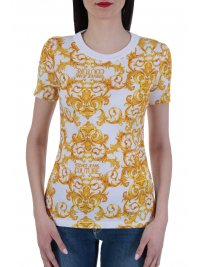 VERSACE JEANS COUTURE VERSACE T-SHIRT STRETCH LOGO BAROQUE ΛΕΥΚΟ