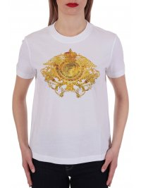 VERSACE JEANS COUTURE VERSACE T-SHIRT LOGO ΣΤΡΑΣ ΛΕΥΚΟ