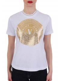 VERSACE JEANS COUTURE VERSACE T-SHIRT ΧΡΥΣΟ ROUND LOGO ΛΕΥΚΟ