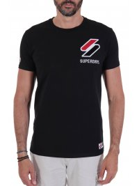 SUPERDRY SUPERDRY T-SHIRT ΜΕ ΣΤΑΜΠΑ SPORTSTYLE CHENILLE ΜΑΥΡΟ