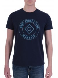 GANT GANT T-SHIRT LOGO SUNSET CLUB ΜΠΛΕ