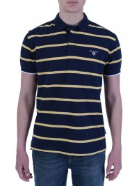 NAVY & GREEN NAVY&GREEN POLO ΡΙΓΕ ΠΙΚΕ CUSTOM FIT TWO PLY ΜΠΛΕ - ΚΙΤΡΙΝΟ