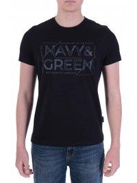 NAVY & GREEN NAVY&GREEN T-SHIRT ΜΕ ΑΝΑΓΛΥΦΟ ΤΥΠΩΜΑ ΜΑΥΡΟ