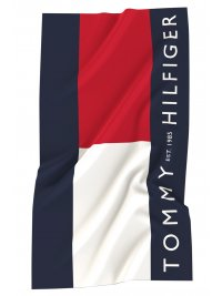 TOMMY HILFIGER TOMMY HILFIGER ΠΕΤΣΕΤΑ ΘΑΛΑΣΣΗΣ UNISEX TOMMY FLAG LARGE SIGNATURE ΜΠΛΕ/ΚΟΚΚΙΝΟ/ΛΕΥΚΟ
