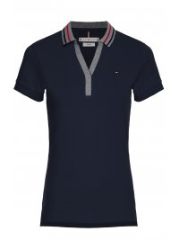 TOMMY HILFIGER TOMMY HILFIGER POLO V-NECK SLIM TIPPING POLO ΜΠΛΕ