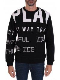 ICE PLAY  ICE PLAY ΦΟΥΤΕΡ CREW NECK BIG LOGO ALL OVER PRINT  ΜΑΥΡΟ